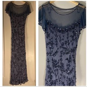 Stenay Beaded Sequined Gray Gown/Dress Size 14